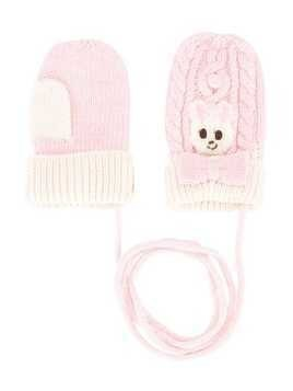 Miki House cable-knit mittens - Pink