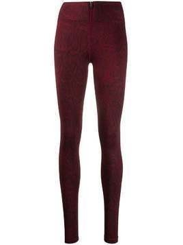 Nike snake-effect print zip leggings - Red