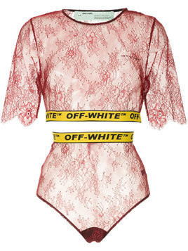Off-White two-piece lace set - Red