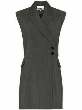 GANNI wraparound sleeveless gilet - Grey