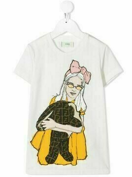 Fendi Kids illustrated-print T-shirt - White