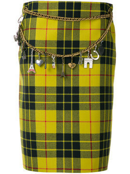 Balenciaga Tartan Pencil Skirt - Yellow