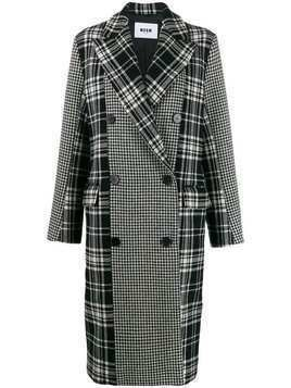 MSGM plaid and houndstooth double-breasted peacoat - Black