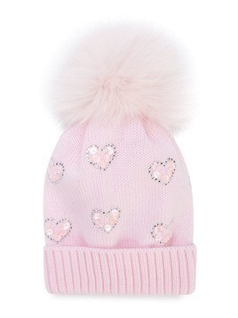 Catya Kids heart embellished knitted hat - Pink