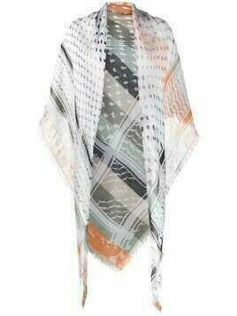 Lala Berlin stripe-print frayed-edge scarf - Grey