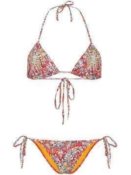 Etro Clianthus paisley triangle bikini top - Red
