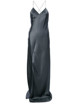 Michelle Mason strappy wrap gown - Grey
