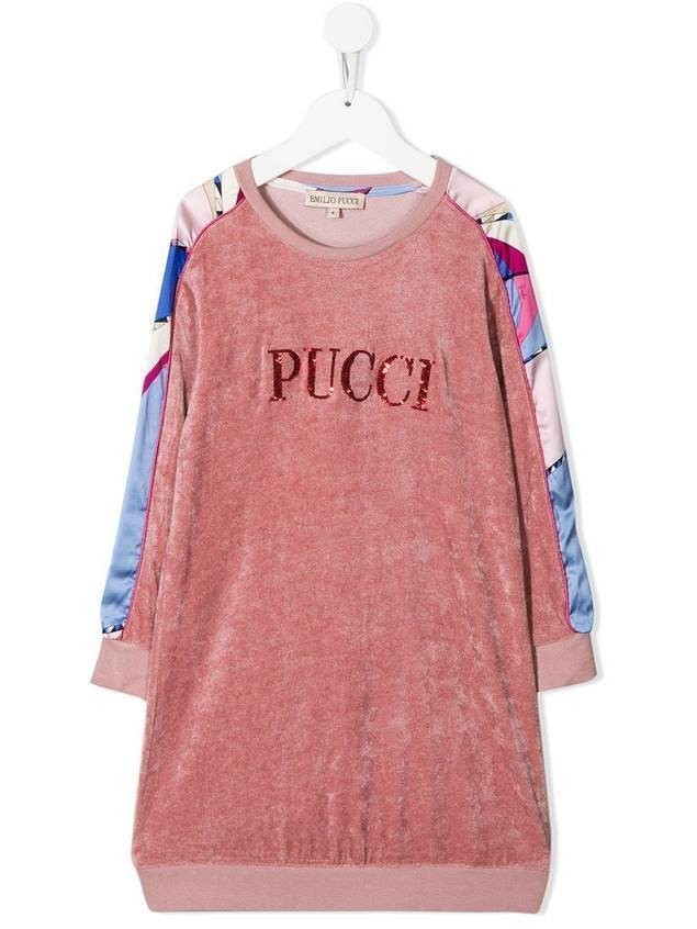 Emilio Pucci Junior logo sweater dress - PINK