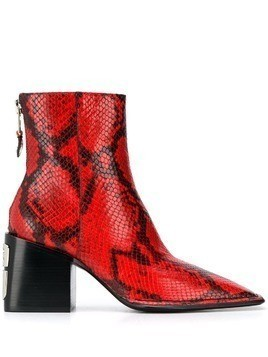 Alexander Wang snakeskin pattern ankle boots - Red