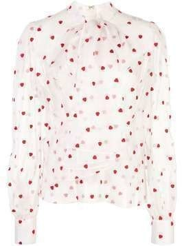 Brock Collection heart-print sheer blouse - White