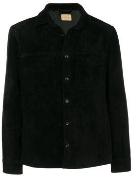 Ajmone buttoned suede jacket - Black