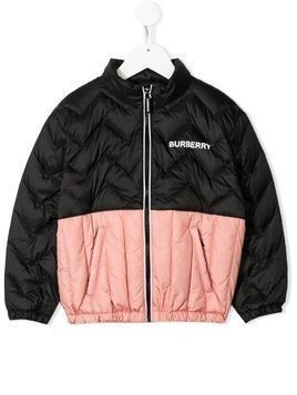 Burberry Kids two-tone puffer jacket - Black