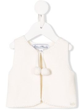 Tartine Et Chocolat cable knit gilet - White