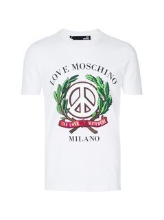 Love Moschino peace print T-shirt - White