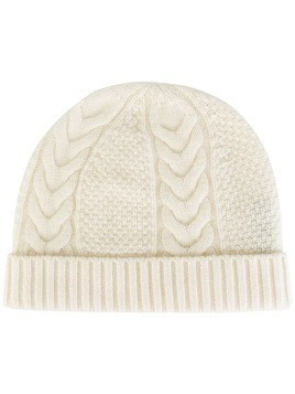 N.Peal cashmere cable knit beanie - White