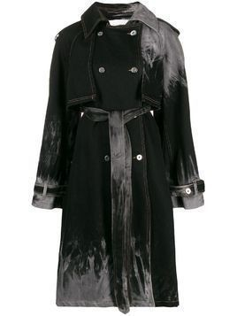 Matthew Adams Dolan belted bleached effect trench coat - Black