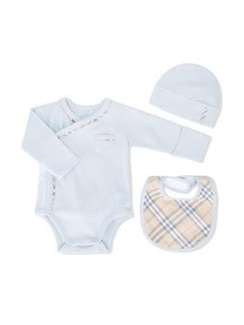 Burberry Kids Check Cotton Three-piece Baby Gift Set - Blue