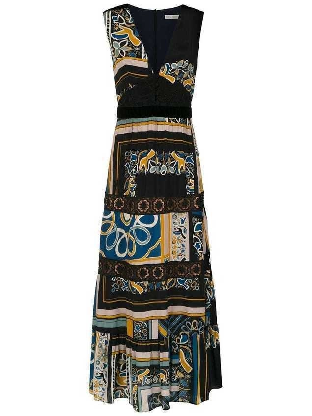 Martha Medeiros long printed dress - Black