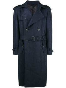 Etro textured trench coat - Blue