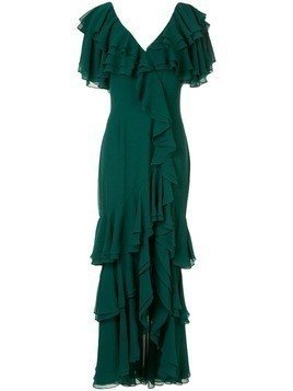 Badgley Mischka ruffled long dress - Green