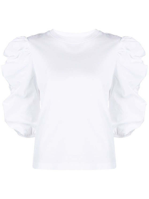 See by Chloé ruffled puff-sleeved top - White