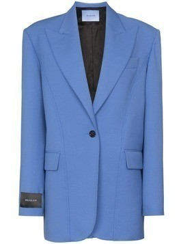 Mugler logo-patch oversized blazer - Blue