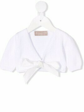 La Stupenderia cropped tied cardigan - White