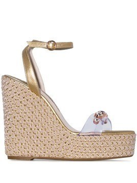 Sophia Webster metallic gold Dina 140 leather wedge sandals