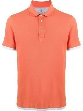Brunello Cucinelli layered style fitted polo shirt - ORANGE
