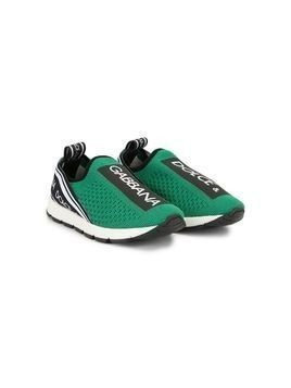 Dolce & Gabbana Kids logo slip-on sneakers - Green