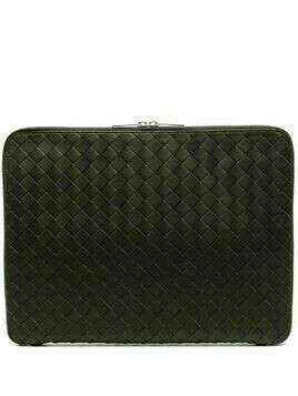 Bottega Veneta Intrecciato laptop clutch bag - Green