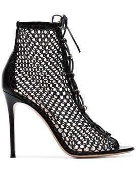 Gianvito Rossi black 105 net lace-up leather boots