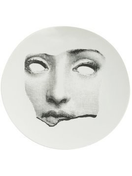 Fornasetti sculpted face print plate - Black