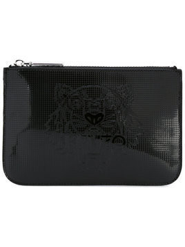 Kenzo logo embossed clutch bag - Black