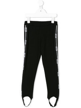 Msgm Kids logo stripe stirrup leggings - Black
