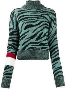 Brognano tiger-pattern rollneck knit jumper - Green