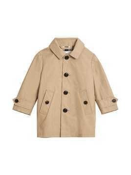Burberry Kids Detachable Hood Mercerised Cotton Trench Coat - Nude & Neutrals