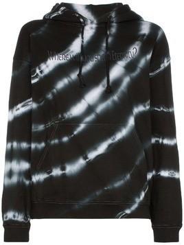 Ashley Williams tie-dye graphic-print cotton hoodie - Black