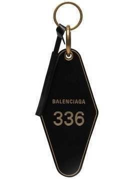 Balenciaga black hotel leather keyring