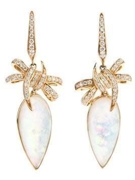Stephen Webster 'Forget Me Knot' quartz and diamond bow earrings - Metallic