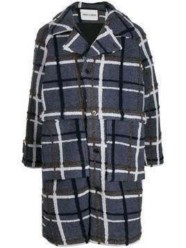 Henrik Vibskov textured check patterned coat - Blue