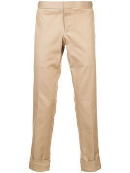 Thom Browne Unconstructed Low Rise Skinny Trouser In Khaki Denim - Nude & Neutrals