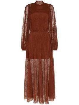 Beaufille Picasso high-neck sheer dress - Brown