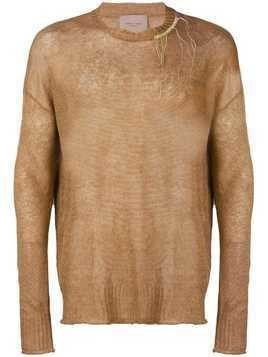 Federico Curradi distressed knit sweater - Brown