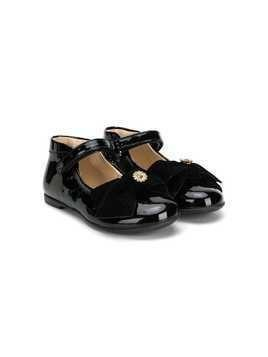 Florens velvet bow ballerina shoes - Black