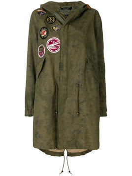 Mr & Mrs Italy - patched classic midi parka - Damen - Cotton/Linen/Flax/Polyethylene - M - Green