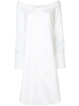 Monographie off-shoulder shirt dress - White