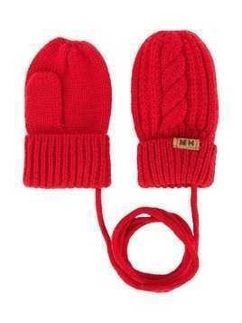 Miki House cable knit mittens - Red