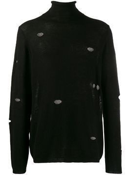 Maison Flaneur distressed turtle neck sweatshirt - Black