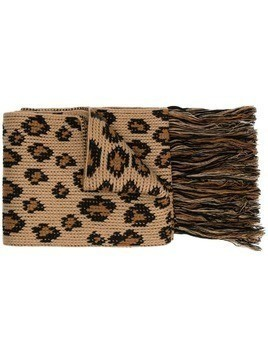 Alanui leopard print fringed scarf - Brown